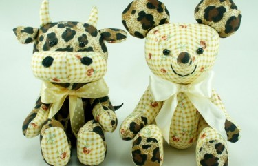 mouse and cow soft toy beehum design